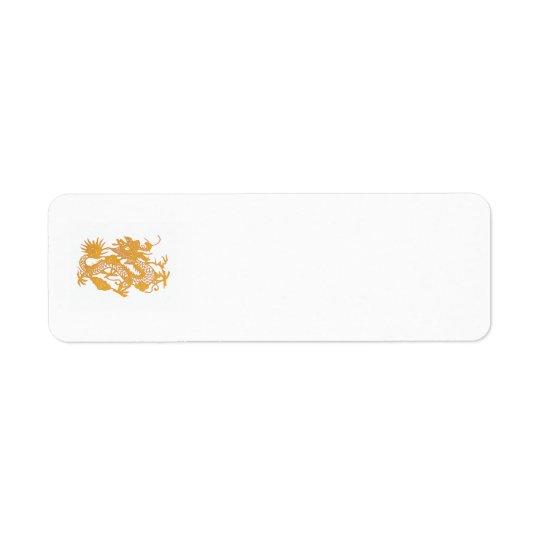Etiqueta del remite del dragón del oro etiqueta de remitente