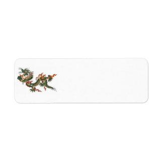 Etiqueta del remite del dragón verde etiqueta de remite