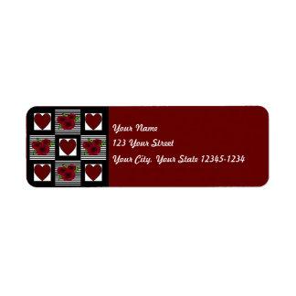 Etiqueta del remite del edredón del corazón etiqueta de remite