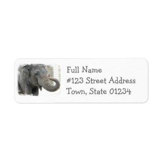 Etiqueta del remite del elefante el tocar la etiqueta de remitente