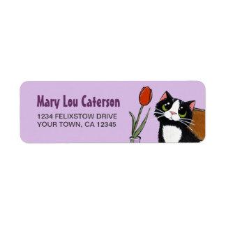 Etiqueta del remite del gato y del tulipán el | etiqueta de remitente