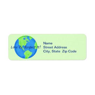 Etiqueta del remite del globo de la tierra del etiquetas de remite