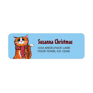 Etiqueta del remite del invierno del gato de Tabby Etiqueta De Remite