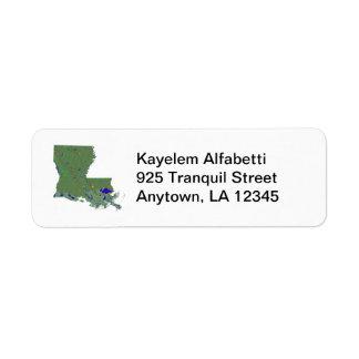 Etiqueta del remite del mapa de Luisiana Etiquetas De Remite