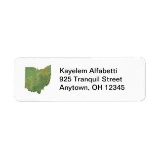 Etiqueta del remite del mapa de Ohio Etiqueta De Remite