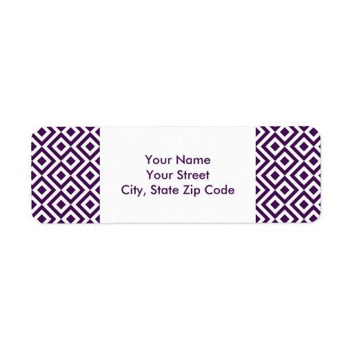 Etiqueta del remite del meandro de la púrpura y de etiquetas de remite