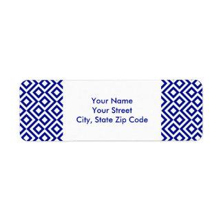 Etiqueta del remite del meandro del azul y del bla etiqueta de remite