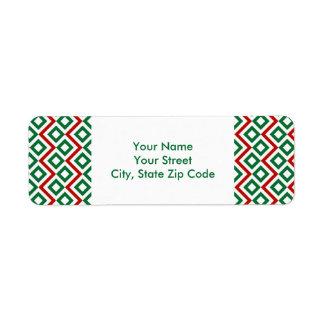 Etiqueta del remite del meandro del navidad etiquetas de remite