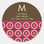 Etiqueta del remite del monograma - rosa y Brown