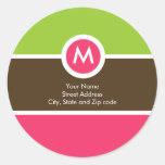 Etiqueta del remite del monograma - verde, rosado,
