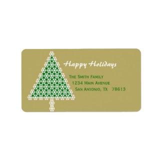 Etiqueta del remite del navidad del árbol de navid etiqueta de dirección