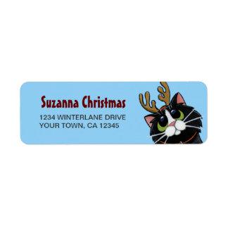 Etiqueta del remite del navidad del reno del gato etiqueta de remitente