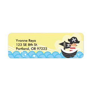 Etiqueta del remite del niño del pirata etiqueta de remite