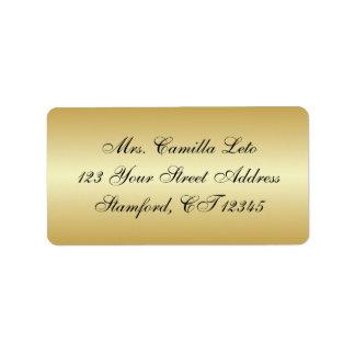 Etiqueta del remite del oro etiquetas de dirección