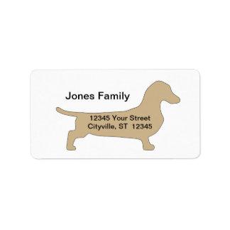 etiqueta del remite del perro de la salchicha de F Etiqueta De Dirección