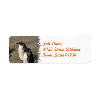 Etiqueta del remite del pingüino etiqueta de remite