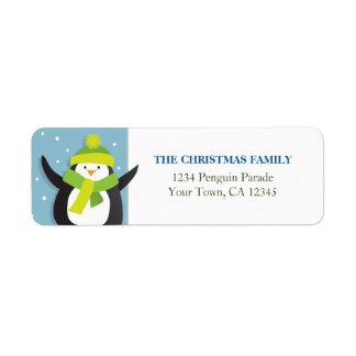Etiqueta del remite del pingüino del navidad etiquetas de remite