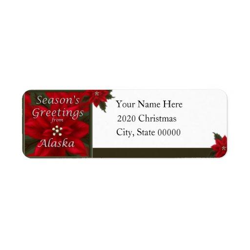 Etiqueta del remite del Poinsettia del navidad de  Etiquetas De Remite
