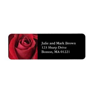 Etiqueta del remite del rosa rojo etiqueta de remite
