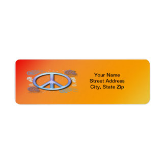 Etiqueta del remite del signo de la paz etiqueta de remite