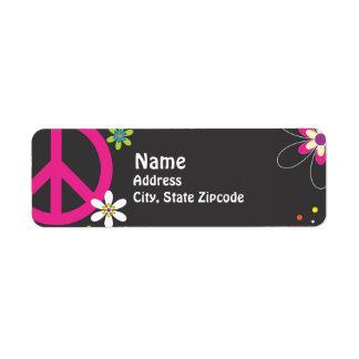 Etiqueta del remite del signo de la paz etiquetas de remite