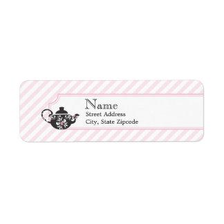 Etiqueta del remite del té rosado etiqueta de remitente