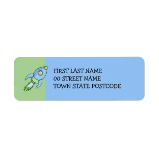 Etiqueta del remite del verde azul de Rocket Etiquetas De Remite