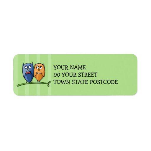 Etiqueta del remite del verde del amor del búho etiqueta de remitente