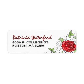 Etiqueta del remite - rosa rojo con las hojas 2 etiquetas de remite