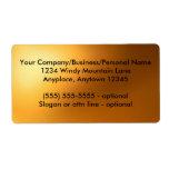 Etiqueta del resplandor de oro etiquetas de envío