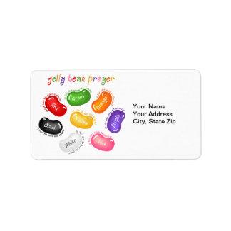 Etiqueta del rezo de la haba de jalea etiqueta de dirección
