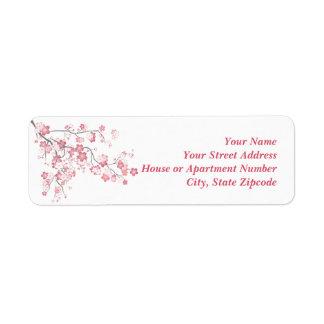 Etiqueta del rosa de la flor de cerezo etiqueta de remite