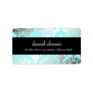 etiqueta del rosa del reflejo 311-Damask Etiqueta De Dirección