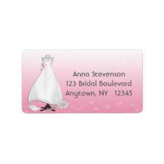 Etiqueta del rosa del vestido nupcial etiquetas de dirección