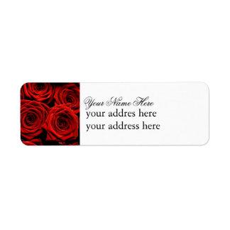 Etiqueta del rosa rojo etiqueta de remite