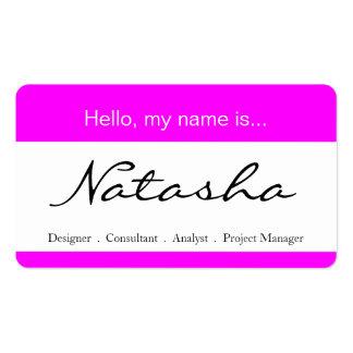 Etiqueta del rosa y blanca del nombre corporativo  tarjetas de visita