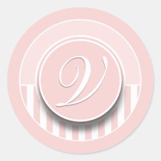 Etiqueta del sello del pegatina de la inicial V de