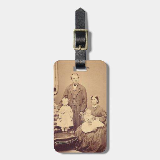 Etiqueta del siglo XIX del equipaje de la familia Etiqueta De Equipaje