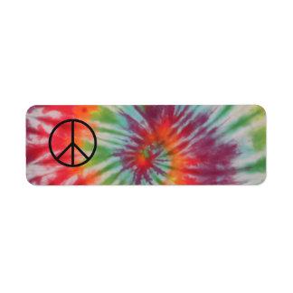 Etiqueta del signo de la paz del teñido anudado etiqueta de remitente