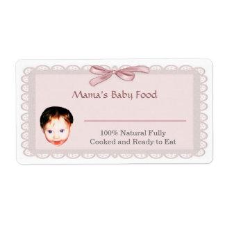 Etiqueta del tarro de los alimentos para niños etiqueta de envío