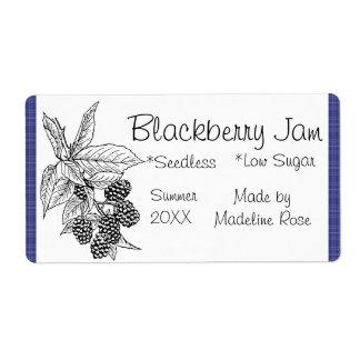 Etiqueta del tarro del atasco de Blackberry Etiqueta De Envío