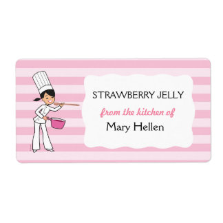 Etiqueta del tarro del cocinero en rosa etiquetas de envío