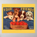 Etiqueta del tomate del vintage de los amigos del  posters