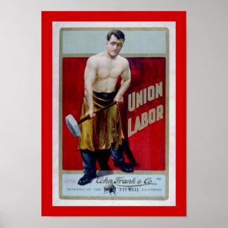 Etiqueta del trabajo de la unión póster