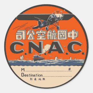 Etiqueta del transporte aéreo del vintage