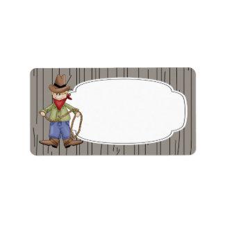 Etiqueta del vaquero del rodeo etiqueta de dirección
