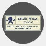 Etiqueta del veneno de la potasa cáustica del