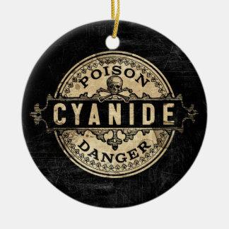 Etiqueta del veneno del estilo del vintage de adorno navideño redondo de cerámica