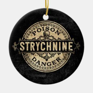 Etiqueta del veneno del estilo del vintage del adorno navideño redondo de cerámica