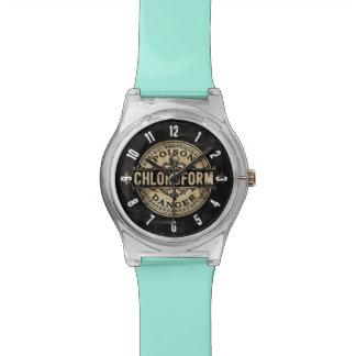 Etiqueta del veneno del estilo del vintage del relojes de pulsera